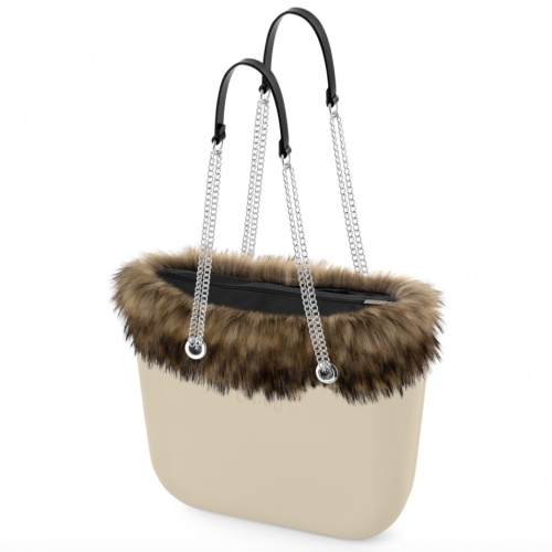 ЧАНТА OBAG SAND LONG DOUBLE T BLACK + FUR NATURAL